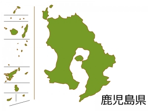 鹿児島県の地図(色付き)のイラスト素材