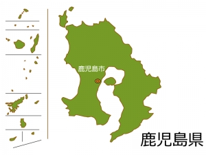 鹿児島県と鹿児島市の地図イラスト素材