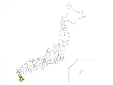 日本地図と鹿児島県のイラスト