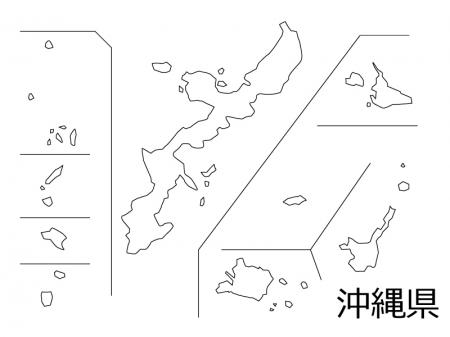 沖縄県の白地図のイラスト素材
