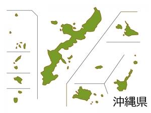 沖縄県の地図(色付き)のイラスト素材