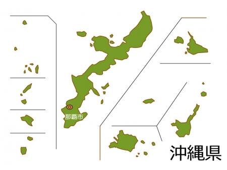 沖縄県と那覇市の地図イラスト素材