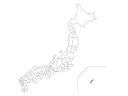 日本地図と沖縄県のイラスト
