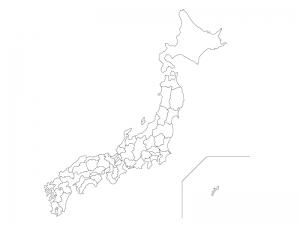 ベクターデータ日本地図の白地図イラスト素材