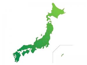 日本地図(ベクターデータ)のイラスト素材・緑グラデーション