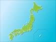 日本地図(ベクターデータ)のイラスト素材・白フチと海