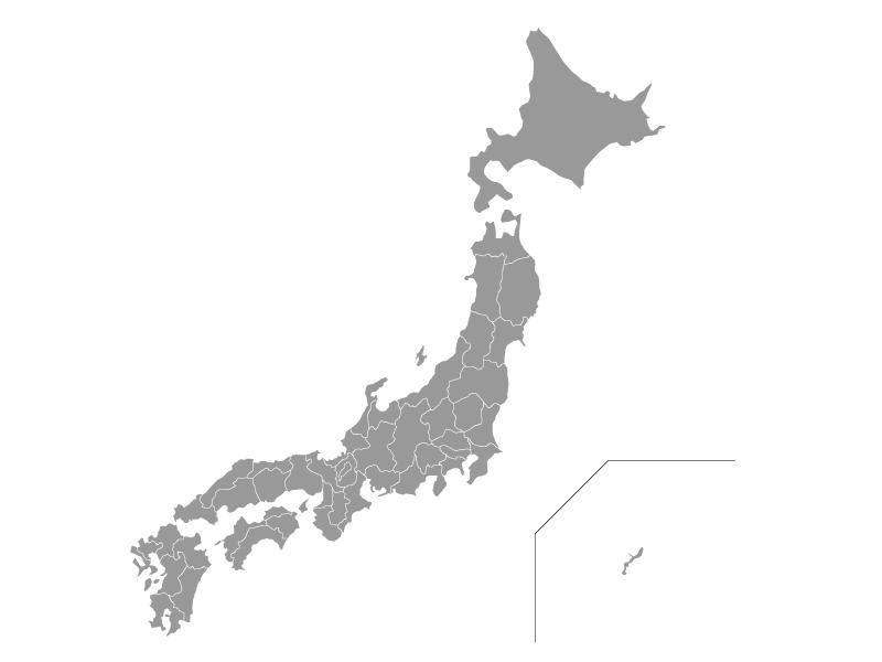 日本地図(ベクターデータ)のイラスト素材・グレー灰色