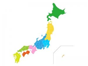 地方エリア分け日本地図(ベクターデータ)のイラスト素材