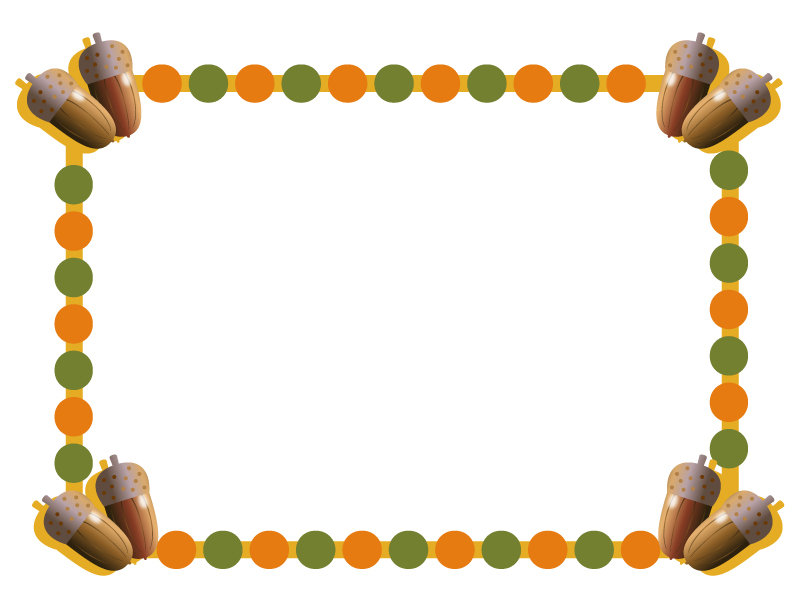 どんぐり・秋のフレーム・枠イラスト素材02