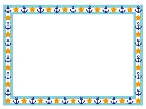 マリンをイメージした碇マークがついたフレーム・枠のイラスト素材02