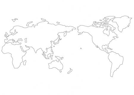世界地図(白地図)のイラスト素材