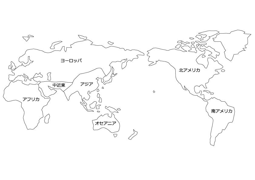 エリア分けした世界地図(白地図)のイラスト素材