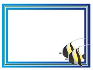 マリンをイメージした魚フレーム・枠のイラスト素材