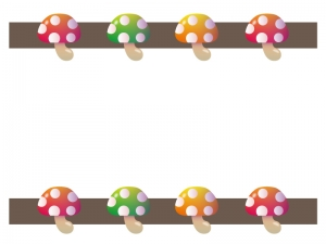 ポップでカラフルなキノコの枠・フレームイラスト素材