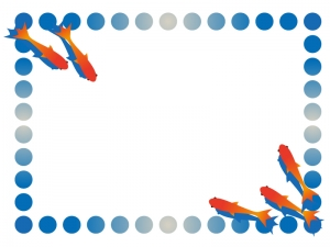 涼し気な金魚の枠・フレームイラスト素材02