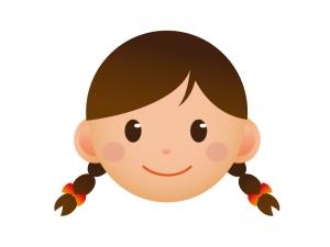 女学生の顔のアイコンイラスト素材