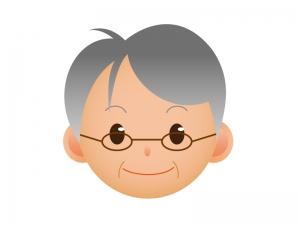 おじいちゃんの顔のアイコンイラスト素材
