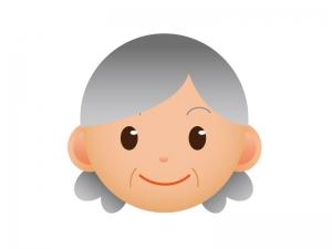 おばあちゃんの顔のアイコンイラスト素材