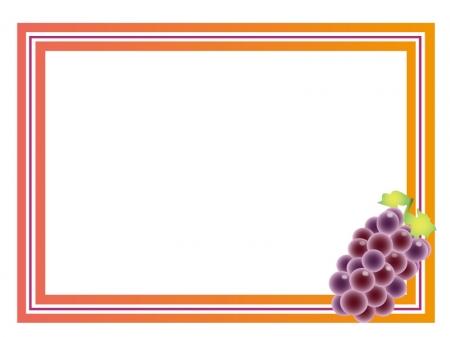 ぶどう(葡萄)・グレープ・果物のフレーム・枠イラスト素材