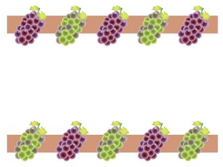 ぶどう(葡萄)・マスカット・果物のフレーム・枠イラスト素材