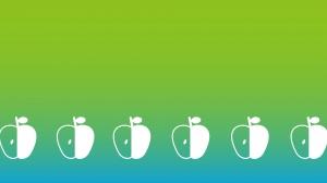 緑色のグラデーション背景のりんごの模様の壁紙・背景素材 1,920px×1,080px