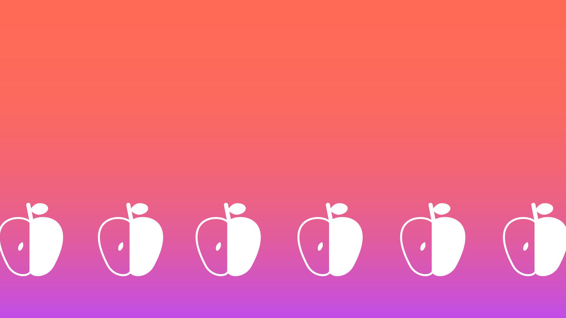 オレンジ色のグラデーション背景のりんごの模様の壁紙・背景素材 1,920px×1,080px
