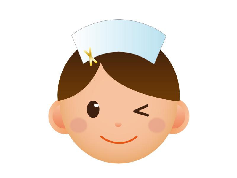ナース(看護師)の顔のアイコンイラスト素材