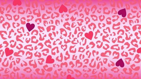 ハートとピンク色のヒョウ柄模様の壁紙・背景素材 1,920px×1,080px