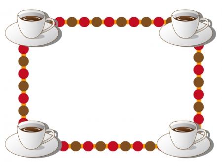 コーヒーカップのフレーム・枠イラスト素材02