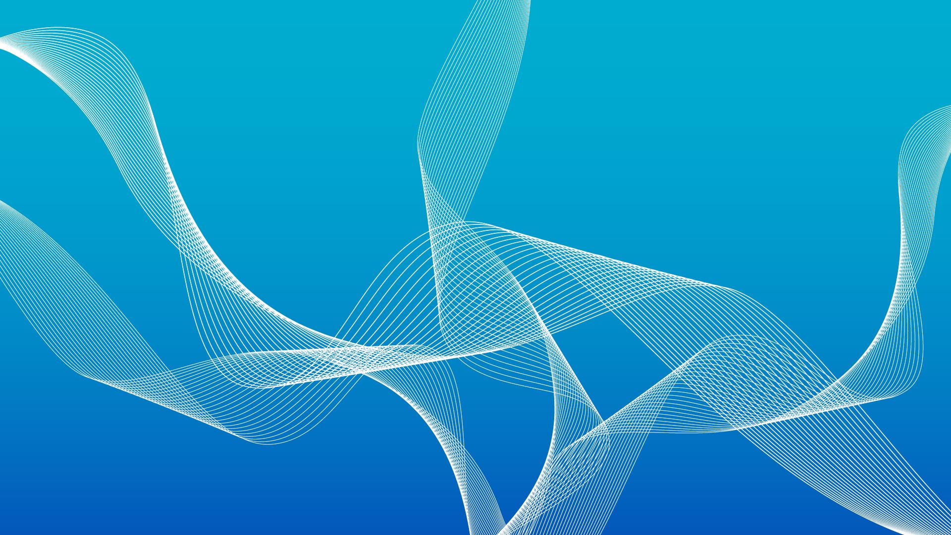 ブルーグラデーションと波線の壁紙・背景素材 1,920px×1,080px
