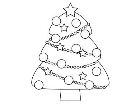 ぬりえ素材・クリスマスツリー・冬