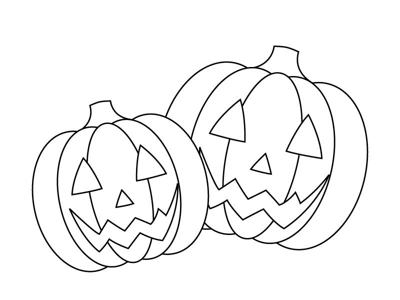 ぬりえ素材・かぼちゃ・ハロウィンのイラスト素材