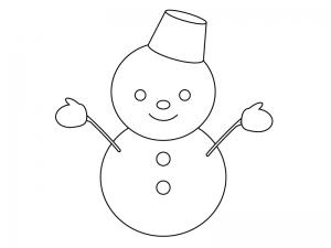 ぬりえ素材・雪だるま・冬