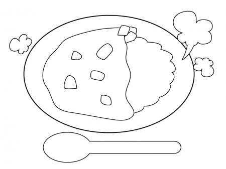 ぬりえ素材・カレーライス・食べ物