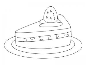 ぬりえ素材・いちごのショートケーキ・スイーツ