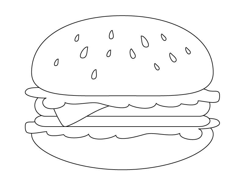 ぬりえ素材・ハンバーガー・ファーストフード