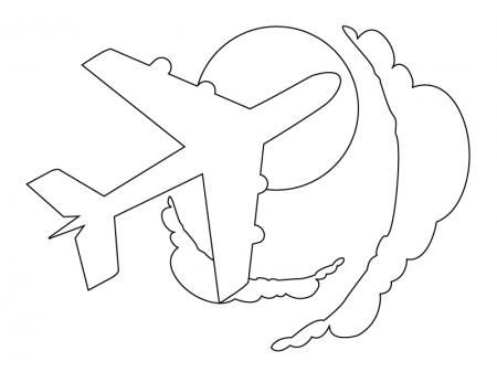 ぬりえ素材・飛行機・乗り物と空