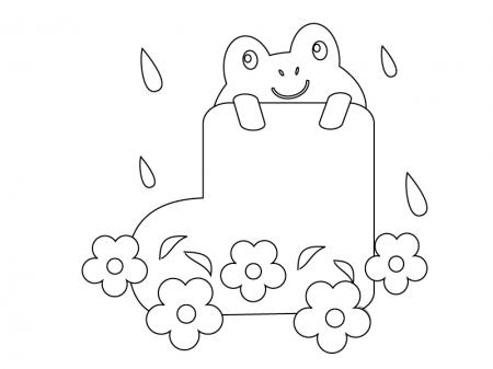 ぬりえ素材・カエルと長靴・梅雨