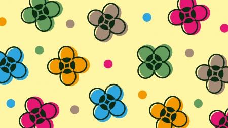 カラフルな小花の壁紙・背景素材 1,920px×1,080px