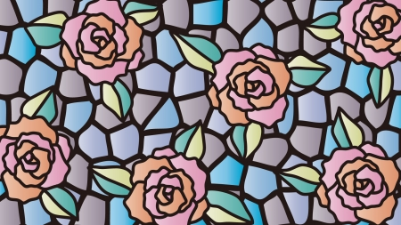 バラのステンドグラスの壁紙・背景素材 1,920px×1,080px