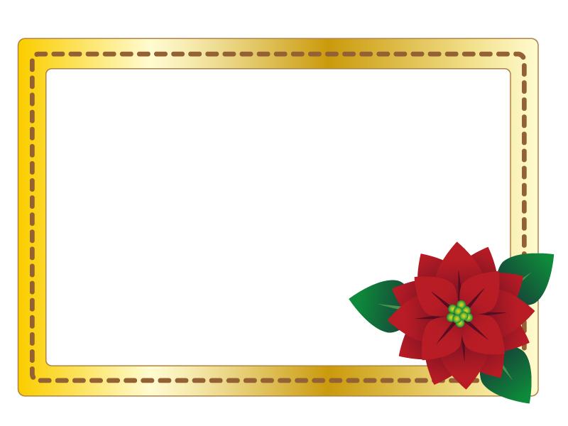 クリスマス・ポインセチアのフレーム・枠素材