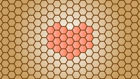 中央にハートがある蜂の巣模様の壁紙・背景素材 1,920px×1,080px