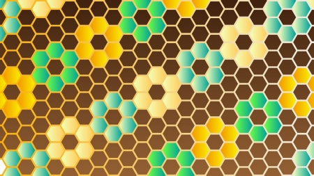 カラフルな蜂の巣模様の壁紙・背景素材 1,920px×1,080px