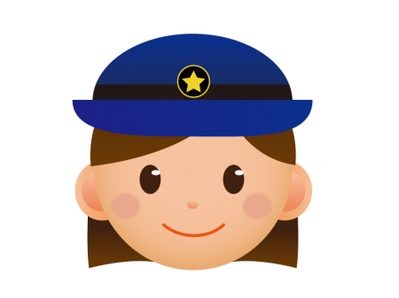 婦人警察官の顔のアイコンイラスト