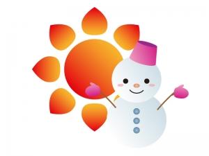 天気・晴れのち雪マークのイラスト素材