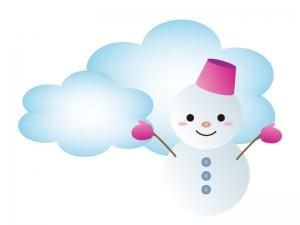 天気・曇のち雪マークのイラスト素材