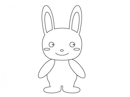 ぬりえ素材・かわいいウサギさん