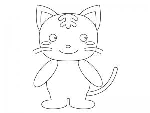 ぬりえ素材・かわいいネコさん