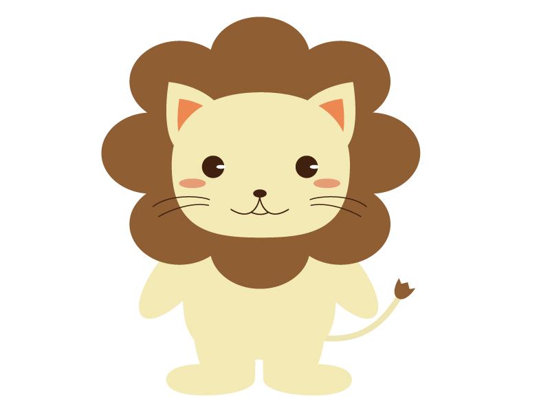 かわいいライオン(全身)のイラスト素材