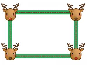 クリスマス・トナカイのフレーム・枠素材